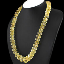 Beautiful 755.00 Cts  Yellow Citrine Round Faceted Beads Single Strand Necklace
