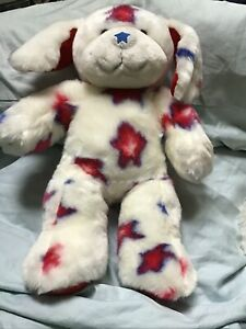"Build a Bear Patriotic Stars Dog Red, White & Blue USA 15"" Plush BAB Soft"