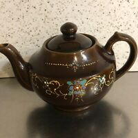 VTG Teapot Single Serve Made Occupied Japan Brown Moriage Floral Orange White