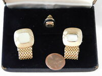 Vintage SWANK Gold Mesh Engraveable Cufflinks Tie Clasp Boxed Set