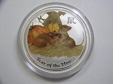 """Australia, 2 dólares 2008 St, lunar II """"año del ratón"""", plata con color"""