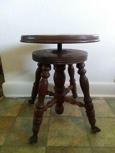 Wooden Swivel Piano Stool Iron Eagle Claw Glass Ball Feet*