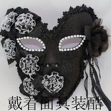 Venetian Masquerade Full Face Flower Lace Black Flower Mask Costume Mardi Gras