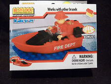 NEW Best Lock Construction Toys Kids Stuff Fireman with Red Boat - Building Toy
