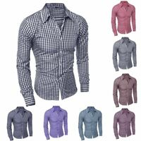 Luxury Men's Stylish Casual Dress Shirt Slim Fit T-Shirts Formal Long Sleeve HOT