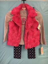 NWT Juicy Couture Girls 3 PC Set Hot Pink Fuzy Vest/Pants/LongSleeve Shirt SZ.6X