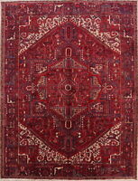 Excellent Vintage Geometric Red 10x13 Oriental Area Rug Hand Knotted Carpet