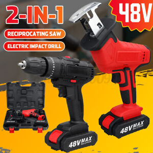 48V Cordless Electric Reciprocating Saw + 28 Nm Electric Drill Screwdriver Set