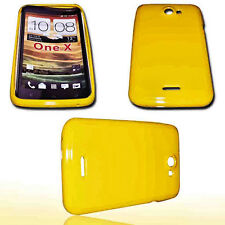 Silikon TPU Handy Cover Case Hülle Schutz Schale in Gelb  für HTC One X