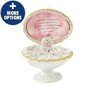 EGGSQUISITE MOTHER GIFT SET & CRYSTAL STYLE GLASS TEDDY BEAR & FLOWERS & POEM