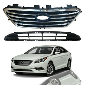 For 2015 2016 2017 Hyundai Sonata Front Upper & Lower Grille Grill Assembly 2pcs