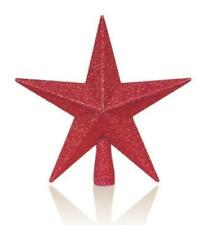 Christmas Tree Top Glitter Ornament - (20cm) Red Star Tree Topper Decoration