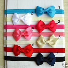 Lot of 10 Newborn Infant Baby Girls Bow Elastic Headbands Baby Bow Headbands