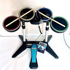 RockBand Harmonix PS2-3-4Wireless Drum Set PSDMS2 W/Pedal, Sticks, Mic No Dongle