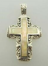 925 STERLING SILVER LARGE MOTHER OF PEARL CROSS PENDANT (43P 534-10073)