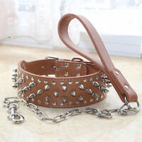 Large Breed PU Leather Spiked Studded Dog Collar+Chain Leash SET PitBull Staffy