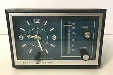 Vintage Retro General Electric Blue Face Walnut Wood Clock Radio Model 7-4728A