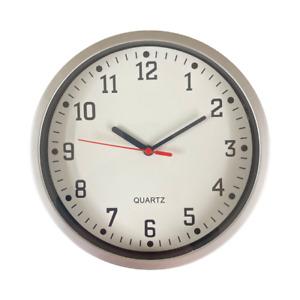 Round Wall Clock Bedroom Kitchen Clocks Quartz Sweep Home Silver 23cm