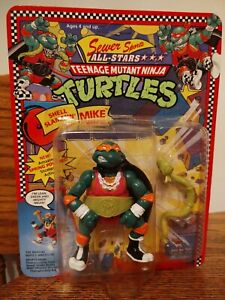 TMNT 1991 SHELL SLAMMIN MIKE MOC UNPUNCHED! (BELT ON/PINK SHIRT VARIANT)