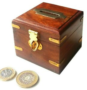 Small wooden money box piggy bank with brass fittings lock & key