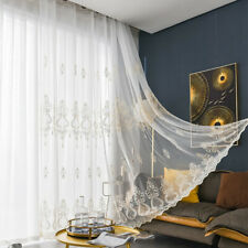 White Embroidery Tulle Curtain for Living Room Lace Voile Sheer Window Panel DIY