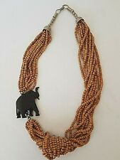 Vintage Beaded Multistrand Necklace With Carved Elephant