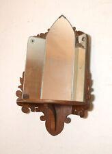 antique 1935 handmade wood wall display 3 panel mirror saint sculpture shelf