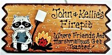 Personalized Name RACCOON FIREPIT SIGN Fire Pit Backyard Rustic Deck Camp Plaque
