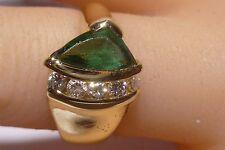 18K Green Gold Trillion Cut 1.00 CTW Emerald Diamonds Estate Handmade Vintage