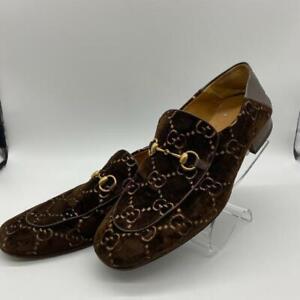 Gucci Brown Supreme GG Velvet Loafer Size 12 Men's Shoes
