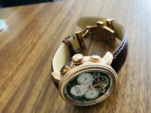 Limited Edition Heritor Automatic Aura Men's Leather Rose Gold Watch