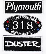 PLYMOUTH: DUSTER 318 SEW/IRON ON PATCH BADGE EMBLEM EMBROIDERED MOPAR HEMI CAR