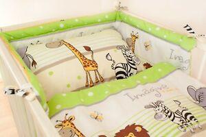 2-10 Pcs Baby Bedding Set 120x90 or 135x100-Antiallergic- Safari Green -CURTAINS