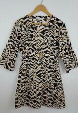 Trina Turk Swim Cover-Up Cotton Tunic Top XS Gold Buckle Deep V-Neck Black White
