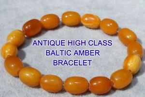 ANCIENT NATURAL BALTIC AMBER MARBLE YELLOW WHITE COLOUR AUTHENTIC BRACELET 11 G