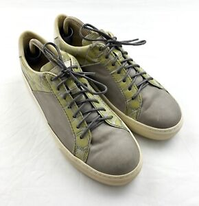 Womens Tod's Low Top Grey / Green Leather Casual Sneakers