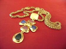 AUTH Chanel vintage CC logos multi color stone pendant chain necklace