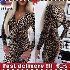 Womens Ladies Sexy Leopard Print Bodycon Dress Club Party Mini Dress Clubwear