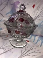 Vintage Candy Dish Lid Westmoreland Glass Clear Ruby Red Flash Cranberry Footed