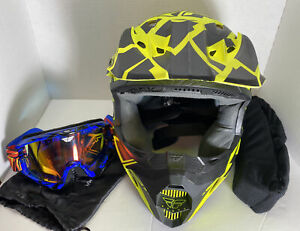 Fly Racing Motocross Helmet Adult Size XS Dot Certified W/goggles & Neck Pad VG!