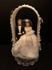 Beautiful Vintage Wedding Couple Cake Topper Decoration Centerpiece Dress Pearls