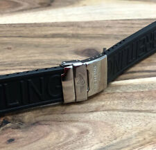 BREITLING 24MM PREMIUM RUBBER ! BLACK WATCH STRAP + CHROME CLASP MENS BAND