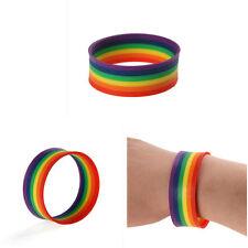 Gay Pride LGBT Mardi Gras Souvenir Rainbow Silicone Rubber Wristband Bracelet