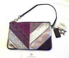 NWT COACH PATCHWORK Purple Suede Lurex  XL WRISTLET CLUTCH BAG 46199