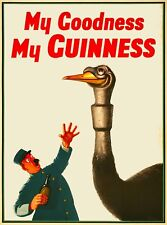 Guinness Beer Ostrich Ireland Great Britain Vintage Travel Art Poster Print