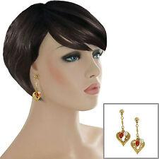 """Pierced Earrings Faux Amber Pearl Heart Filigree Charm Beaded Drop Dangle 2"""""""