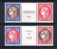 """FRANCE STAMP TIMBRE 348 / 351 """" CERES EXPOSITION PEXIP 1937 """" NEUFS xx LUXE R125"""