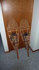 "Antique Vintage Large Wooden Beavertail Snowshoes wood leather 49"" x 13"""