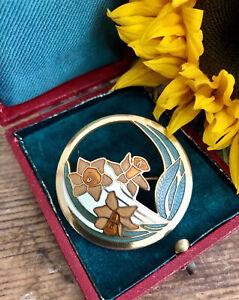 Vintage Signed Fish & Crown Cloisonne Enamel Daffodil Flower Brooch Pin