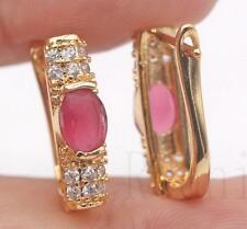 18K Gold Filled - Oval Ruby Topaz Rectangle Gemstone Wedding Girl Hoop Earrings